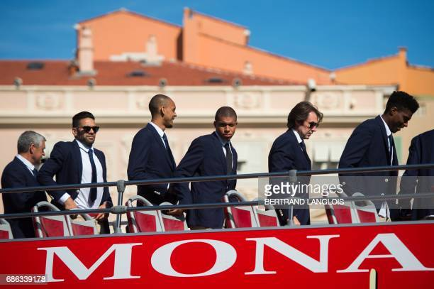 Monaco's Colombian forward Radamel Falcao Monaco's Brazilian defender Fabinho Monaco's French forward Kylian Mbappe and Monaco's Brazilian defender...
