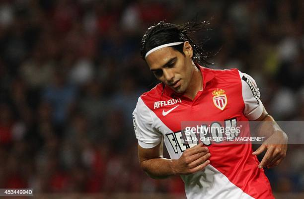 Monaco's Colombian forward Radamel Falcao reacts during the French L1 football match Monaco vs Lorient on August 10 2014 at the Louis II stadium in...