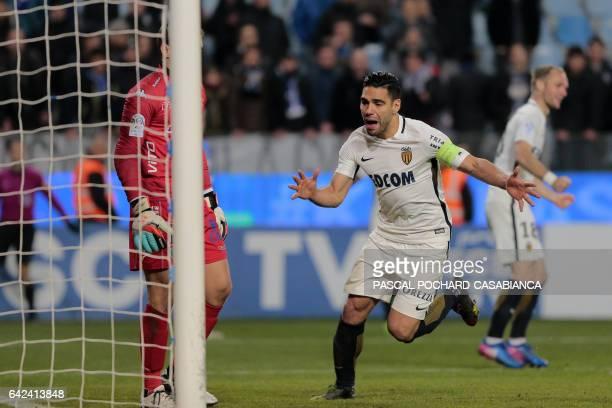 Monaco's Colombian forward Radamel Falcao runs to catch the ball after Monaco's Portuguese midfielder Bernardo Silva scores a goal during the L1...