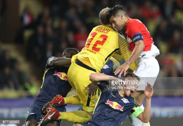 TOPSHOT Monaco's Colombian forward Radamel Falcao scores a goal during the UEFA Champions League group G football match between Monaco and Leipzig at...