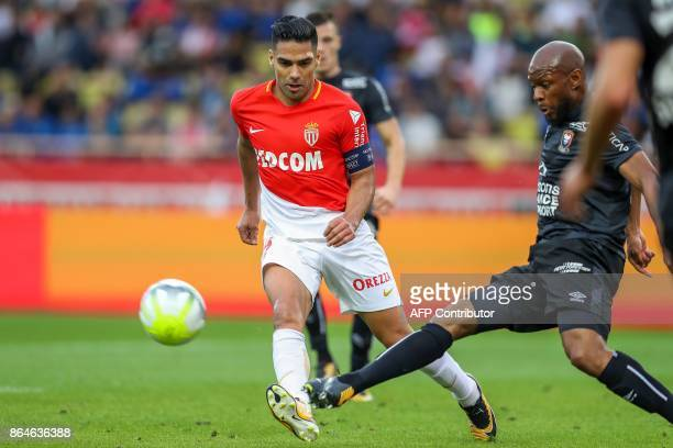Monaco's Colombian forward Radamel Falcao vies with Caen's FrenchGuinean midfielder Baissama Sankoh during the French L1 football match Monaco vs...