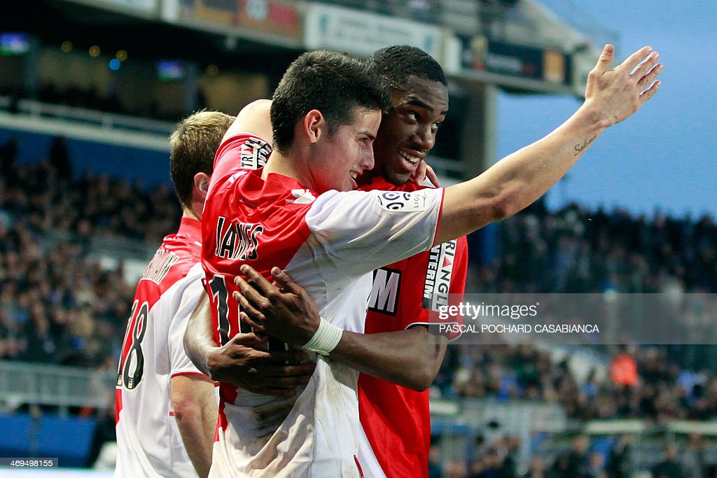 Monaco's Colombian midfielder James Rodriguez (L) is congratulated by teammates after scoring a goal during the French L1 football match Bastia (SCB) against Monaco (ASM) in the Armand Cesari stadium in Bastia, Corsica, on February 15 , 2014.