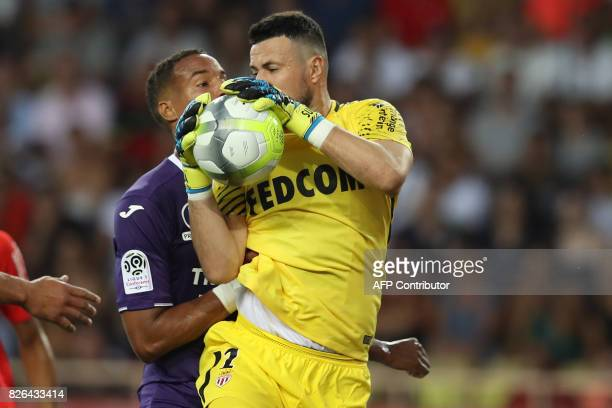 Monaco's Croatian goalkeeper Danijel Subasic catches the ball during the French L1 football match Monaco vs Toulouse on August 4 2017 at the Louis II...