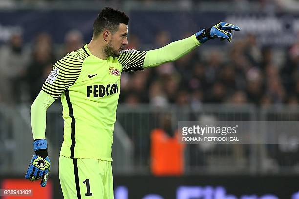 Monaco's Croatian goalkeeper Danijel Subasic gestures during the French L1 football match Bordeaux vs Monaco on December 10 2013 at the Matmut...