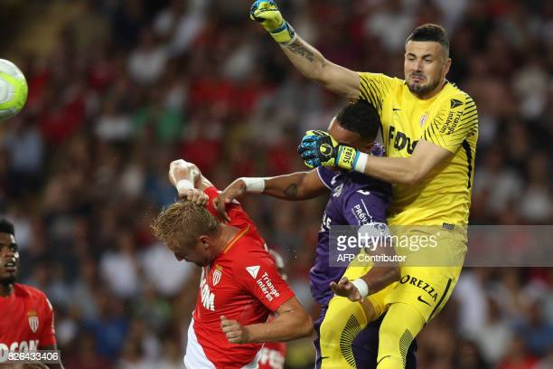 TOPSHOT Monaco's Croatian goalkeeper Danijel Subasic jumps for the ball during the French L1 football match Monaco vs Toulouse on August 4 2017 at...