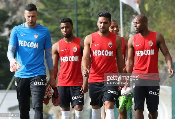 Monaco's Croatian goalkeeper Danijel Subasic Monaco's French midfielder Thomas Lemar Monaco's Colombian forward Radamel Falcao Monaco's French...