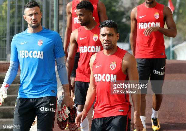 Monaco's Croatian goalkeeper Danijel Subasic Monaco's French midfielder Thomas Lemar and Monaco's Colombian forward Radamel Falcao arrive for a...