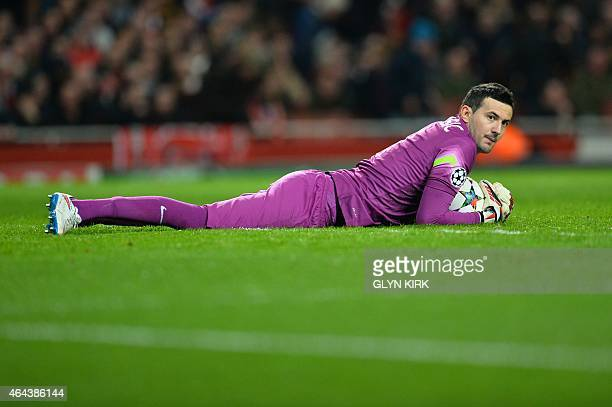 Monaco's Croatian goalkeeper Danijel Subasic plays during the UEFA Champions League round of 16 first leg football match between Arsenal and Monaco...