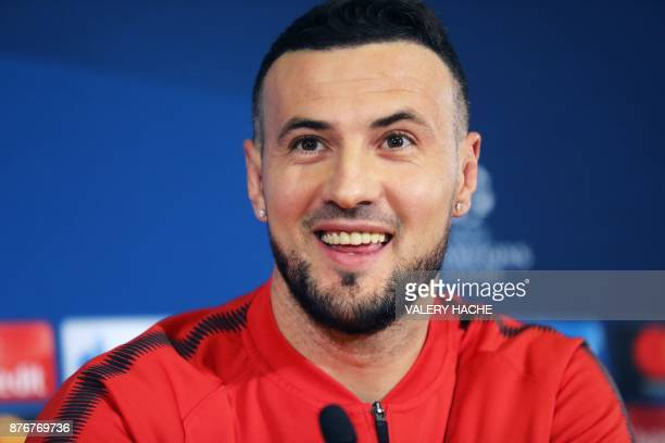 Monaco's Croatian goalkeeper Danijel Subasic speaks during a press conference on the eve of the UEFA Champions League Group G football match between...