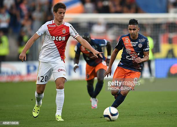 Monaco's Croatian midfielder Mario Pasalic vies with Montpellier's french forward Ryad Boudebouz during the French L1 football match between MHSC...