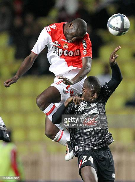 Monaco's defender Djimi Trore vies with Nice's midfileder Abdou Traore during their French L1 football match Monaco vs Nice on November 27 2010 at...