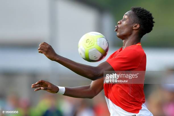 Monaco's Dutch defender Terence Kongolo controls the ball during a friendly football match between AS Monaco and Fenerbahce in Montreux on July 19...