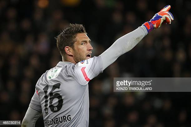 Monaco's Dutch goalkeeper Maarten Stekelenburg reacts during the French Cup football match between Paris SaintGermain and Monaco at the Parc des...
