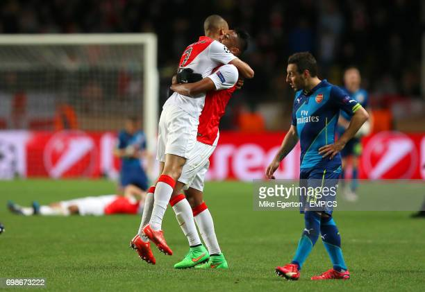AS Monaco's Fabinho and Wallace celebrate