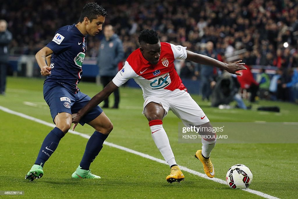 Monaco's forward <a gi-track='captionPersonalityLinkClicked' href=/galleries/search?phrase=Alain+Traore&family=editorial&specificpeople=4146262 ng-click='$event.stopPropagation()'>Alain Traore</a> (R) challenges Paris Saint-Germain's Brazilian defender <a gi-track='captionPersonalityLinkClicked' href=/galleries/search?phrase=Marquinhos+-+Central+Defender+-+Born+1994&family=editorial&specificpeople=11132043 ng-click='$event.stopPropagation()'>Marquinhos</a> (L) during the French Cup football match between Paris Saint-Germain (PSG) and Monaco at the Parc des Princes stadium in Paris on March 4, 2015.