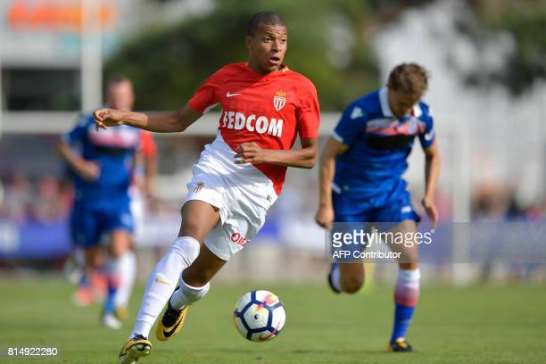 Monaco's forward Kylian Mbappe controls the balll during a friendly football match between AS Monaco and Stoke City FC in Martigny on July 15 2017 /...