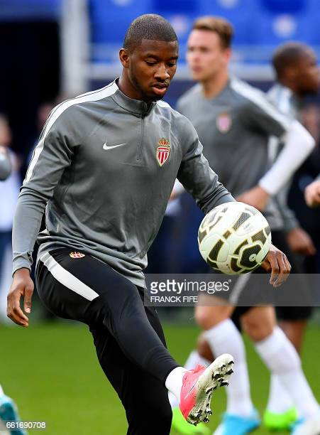 Monaco's French defender Abdou Diallo controls the ball during a training session at the Parc Olympique Lyonnais stadium in DecinesCharpieu near Lyon...
