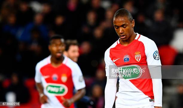 Monaco's French defender Abdou Diallo grimaces during the French Cup semifinal match between Paris SaintGermain and Monaco at the Parc des Princes...