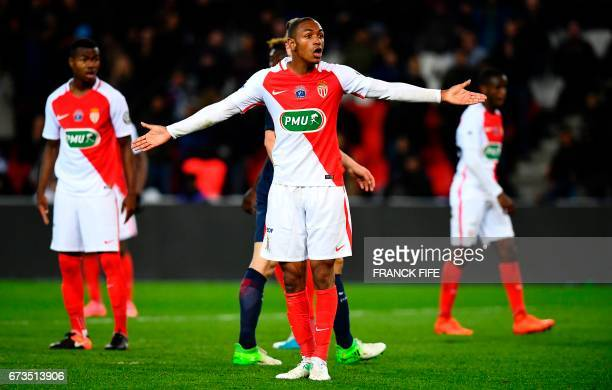 Monaco's French defender Abdou Diallo reacts during the French Cup semifinal match between Paris SaintGermain and Monaco at the Parc des Princes...