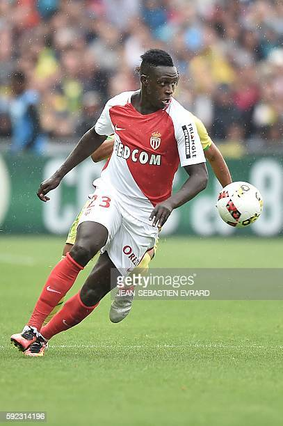 Monaco's French defender Benjamin Mendy controls the ball during the French L1 football match between FC Nantes and AS Monaco on August 20 2016 at...