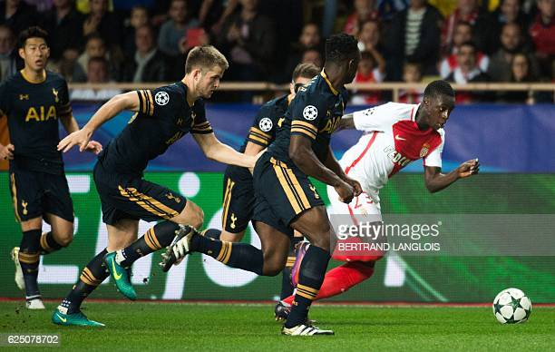 Monaco's French defender Benjamin Mendy runs for the ball during the UEFA Champions League group E football match AS Monaco and Tottenham Hotspur FC...