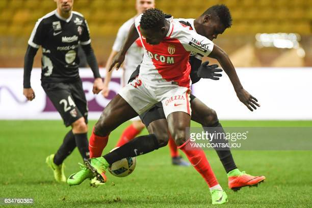 Monaco's French defender Benjamin Mendy vies for the ball during the French Ligue 1 football match between AS Monaco and Metz at the Louis II Stadium...