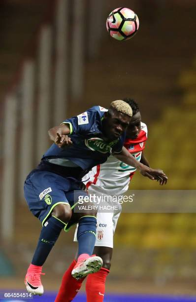 Monaco's French defender Benjamin Mendy vies with Lille's Yves Bissouma during the French Cup football match between Monaco vs Lille at the 'Louis...