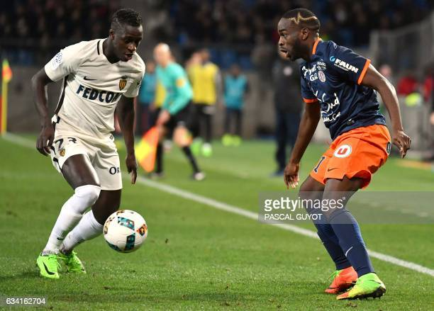 Monaco's French defender Benjamin Mendy vies with Montpellier's French forward Jonathan Ikone during the French L1 football match between MHSC...