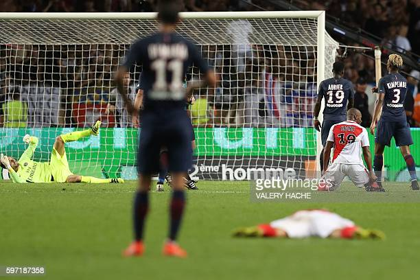 TOPSHOT Monaco's French defender Djibril Sidibe celebrates after scoring a goal during the French Ligue 1 football match Monaco versus...