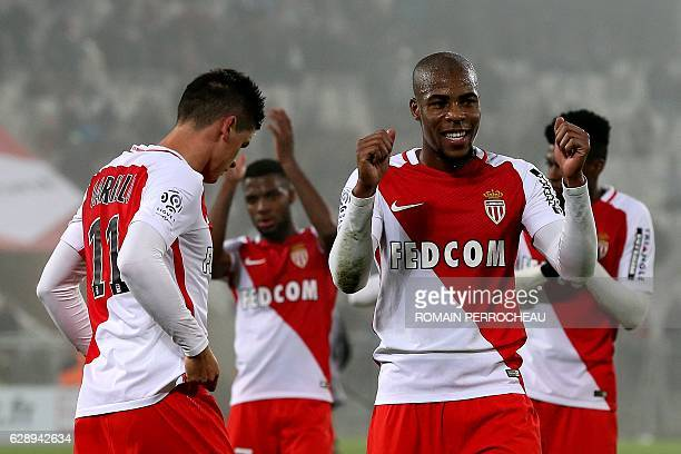 Monaco's French defender Djibril Sidibe celebrates at the end of the French L1 football match Bordeaux vs Monaco on December 10 2013 at the Matmut...