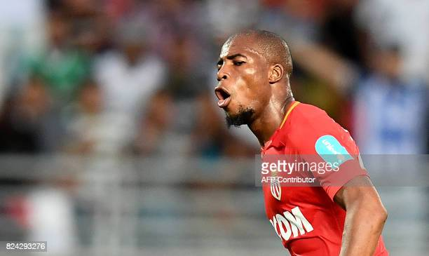 Monaco's French defender Djibril Sidibe celebrates scoring the opening goal during the French Trophy of Champions football match between Monaco and...