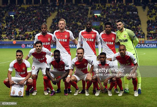 Monaco's French defender Djibril Sidibe Monaco's Polish defender Kamil Glik Monaco's French midfielder Tiemoue Bakayoko Monaco's Brazilian defender...