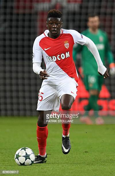 Monaco's French defender Kevin N´Doram plays the ball during the UEFA Champions League group E match between Bayer 04 Leverkusen and AS Monaco FC in...