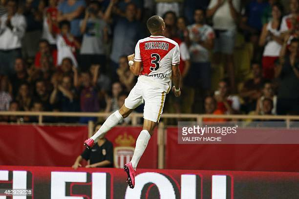 Monaco's French defender Layvin Kurzawa celebrates after scoring the 20 during the UEFA Champions League third qualifying round second leg football...