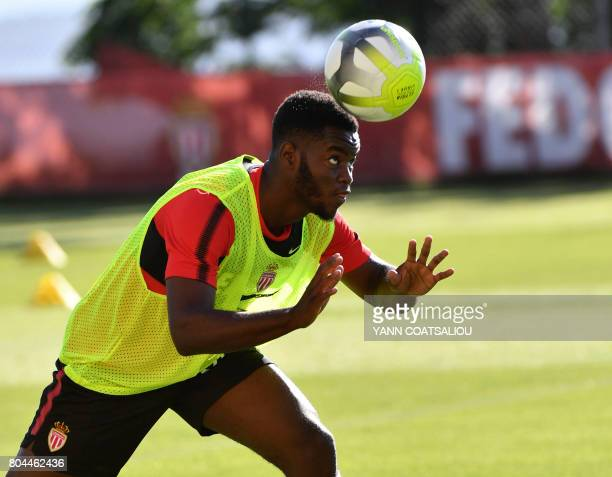 Monaco's French defenser Jordy Gaspar controls the ball during a training session on June 30 2017 in Monaco / AFP PHOTO / Yann COATSALIOU
