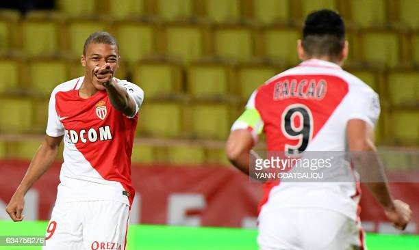 Monaco's French forward Kylian Mbappe Lottin celebrates after a scoring a goal during the French Ligue 1 football match between AS Monaco and Metz at...