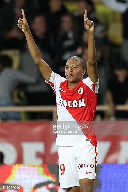 Monaco's French forward Kylian Mbappe Lottin celebrates after scoring a goal during the French L1 football match between AS Monaco and Montpellier at...