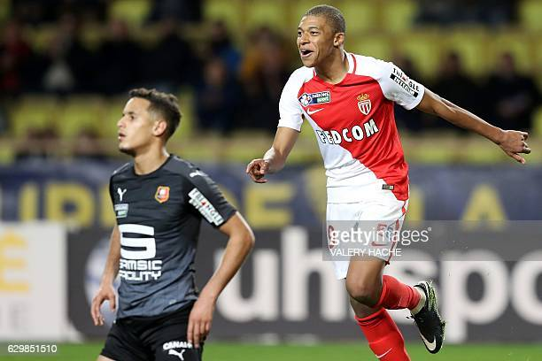 Monaco's French forward Kylian Mbappe Lottin celebrates after scoring a goal during a French League Cup football match between Monaco and Rennes at...