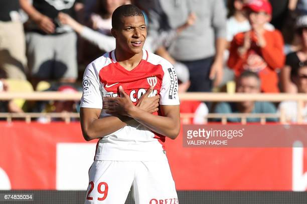Monaco's French forward Kylian Mbappe Lottin celebrates after scoring a goal during the French L1 football match Monaco vs Toulouse on April 29 2017...