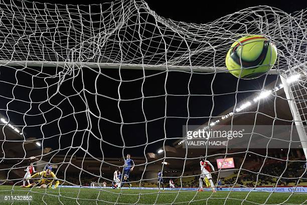 Monaco's French forward Kylian Mbappe Lottin scores a goal during the French L1 football match Monaco vs Troyes on February 20 2016 at the 'Louis II...