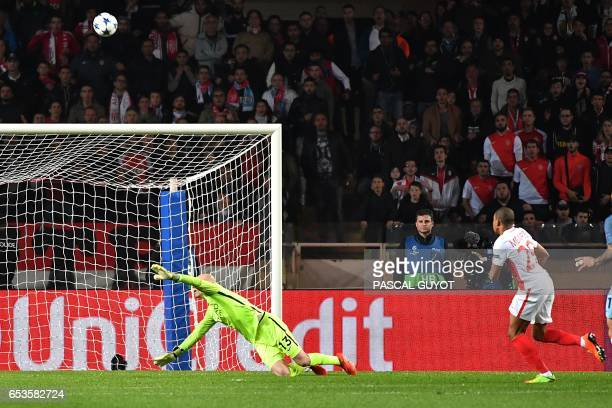 Monaco's French forward Kylian Mbappe Lottin scores a goal during the UEFA Champions League round of 16 football match between Monaco and Manchester...