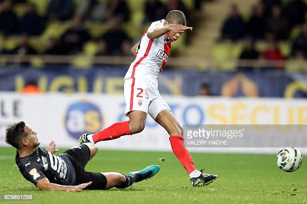 Monaco's French forward Kylian Mbappe Lottin shoots to scores a goal during a French League Cup football match between Monaco and Rennes at the...