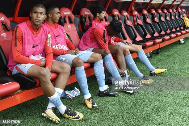 Monaco's French forward Kylian Mbappe sits on the bench during the French Ligue 1 football match between Dijon FCO and AS Monaco on August 13 2017 at...
