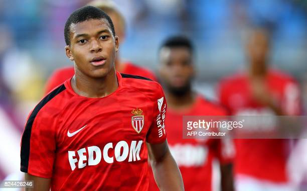 Monaco's French forward Kylian Mbappe warms up ahead of the French Trophy of Champions football match between Monaco and Paris SaintGermain on July...