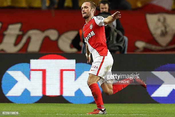 Monaco's French forward Valere Germain celebrates after scoring a goal during the French L1 football match between Monaco and Marseille at the Louis...