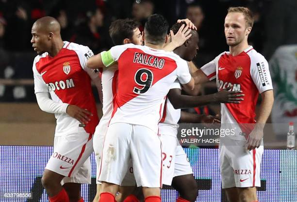 Monaco's French forward Valere Germain celebrates after scoring a goal during the French Ligue 1 football match between Monaco and Nice on February 4...