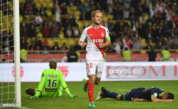 Monaco's French forward Valere Germain celebrates after scoring a goal during the French L1 football match between Monaco and Lille at the Louis II...