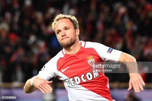 Monaco's French forward Valere Germain celebrates he scored his team's third goal during the UEFA Champions League 2nd leg quarterfinal football...