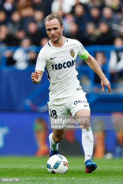 Monaco's French forward Valere Germain controls the ball during the French Ligue One football match between Caen and Monaco on March 19 2017 at the...