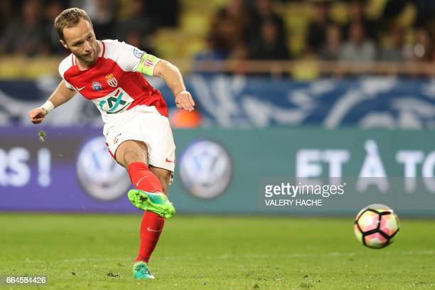 Monaco's French forward Valere Germain kicks the ball during the French Cup football match between Monaco vs Lille at the 'Louis II' stadium in...